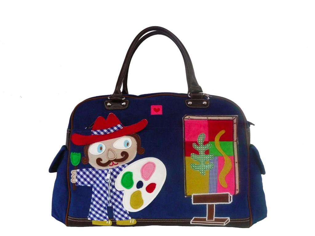 room seven wickeltasche painter diaper bag boy blau neu ebay. Black Bedroom Furniture Sets. Home Design Ideas